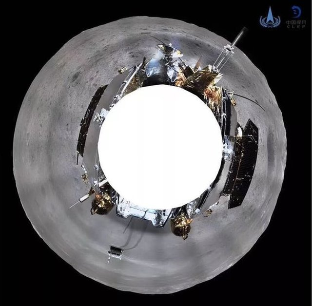 The panorama taken from the Chang'e 4 lander at its perch in Von Karman Crater and stitched together as a full-circle view.