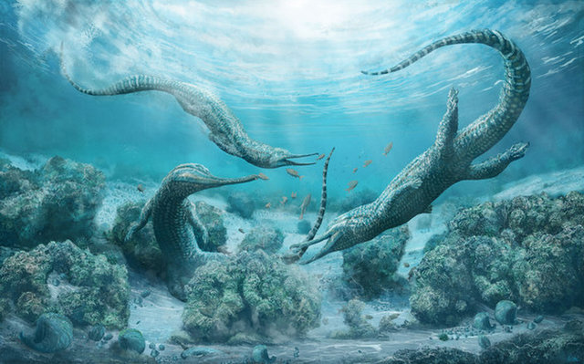 An illustration of the newly discovered phytosaur species <i>Mystriosuchus steinbergeri</i>, a crocodile-like beast that lived 210 million years ago in what is now Austria.